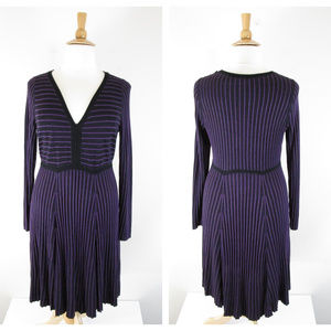 Torrid Black And Purple Sweater Knit Skater Dress